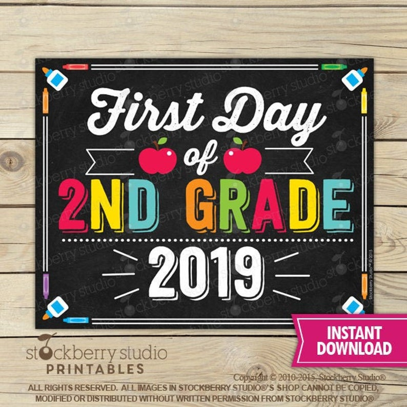 It is a graphic of Trust First Day of 2nd Grade Printable Sign