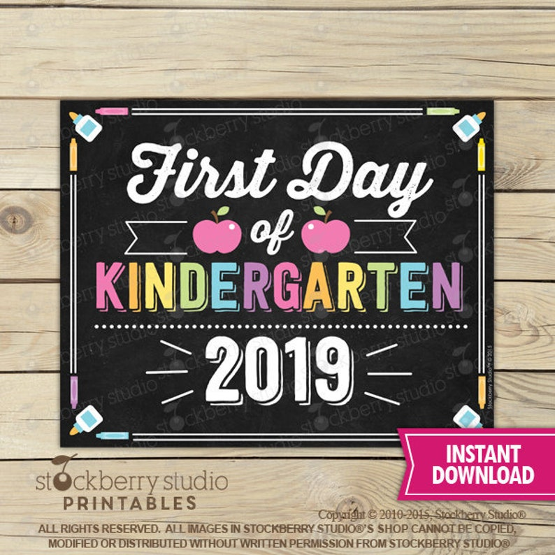 graphic regarding First Day of Kindergarten Sign Printable referred to as Woman Initial Working day of Kindergarten Signal - 1st Working day of College or university Printable - Initial Working day of College Signal - Image Prop - Chalkboard Indication Immediate Down load