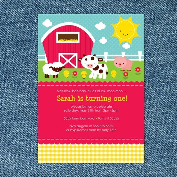 Farm Birthday Invitation Printable Barnyard Birthday Invitation