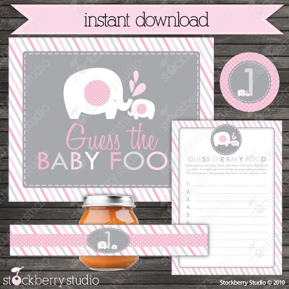 elephant baby shower guess the baby food game printable instant