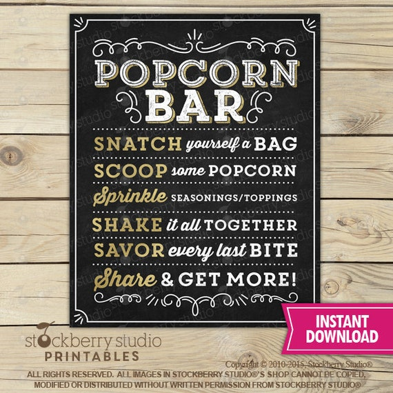 photograph about Popcorn Sign Printable titled Popcorn Bar Signal Printable - Popcorn Indicator - Prompt Down load