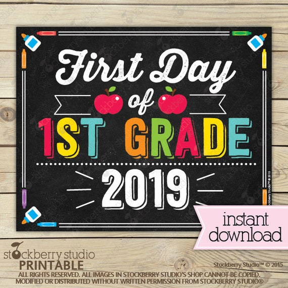 graphic relating to First Day of 1st Grade Printable named Very first Working day of 1st Quality Indicator - 1st Working day of College Printable - 1st Working day of College Indication - Image Props - Chalkboard Indicator Prompt Down load