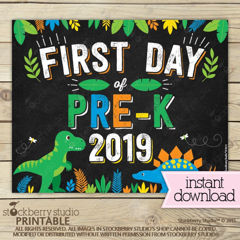 picture about First Day of Pre K Sign Printable identified as Dinosaur Initial Working day of Prek Indicator Quick Down load - Dinosaurs Very first Working day of Pre-k Indication Printable - Boy Very first Working day of Higher education Indication - Very first Working day