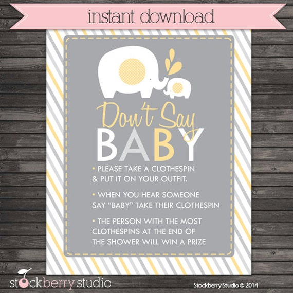 picture relating to Don't Say Baby Printable identified as Elephant Little one Shower Dont Say Recreation Signal Printable - Yellow