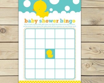 Rubber Ducky Baby Shower Bingo Game - Neutral Baby Shower Games Printable - Instant Download - Aqua Blue Yellow Rubber Duckie Baby Shower