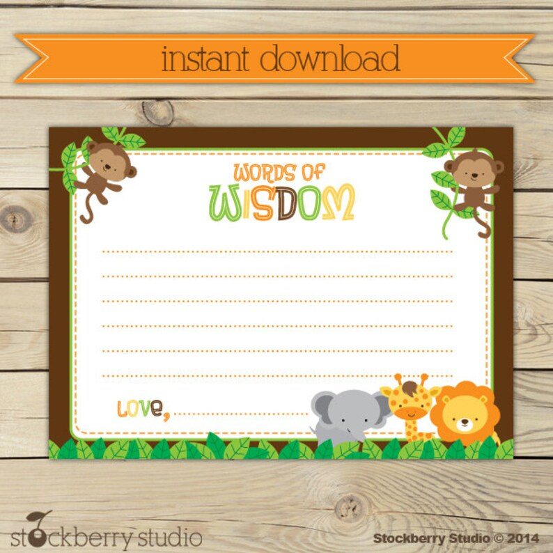 Safari Animals Baby Shower Words of Wisdom Printable   image 0
