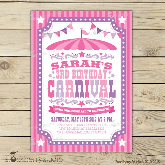 Girl Carnival Invitations Printable
