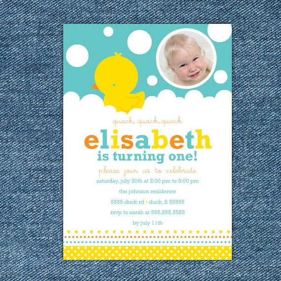 Rubber Ducky Birthday Invitation Printable Rubber Ducky 1st