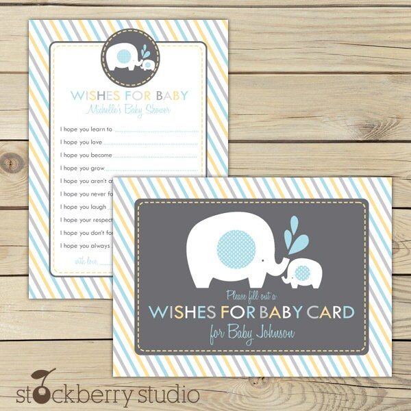 elephant baby shower wishes for baby boy printable blue gray yellow advice card baby shower well wishes for baby boy baby shower games