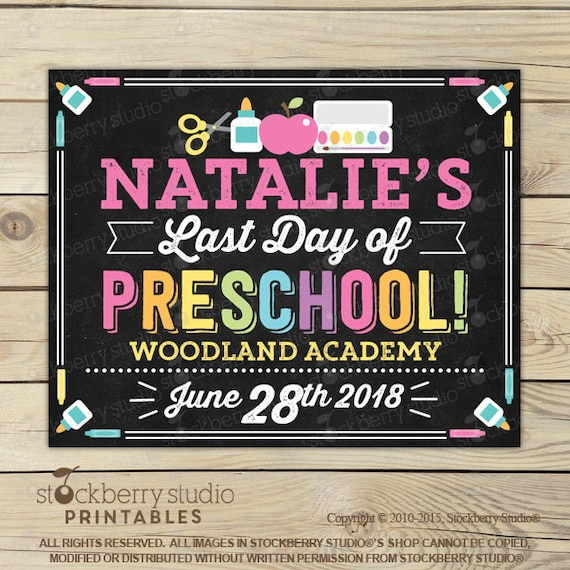 graphic relating to Last Day of Preschool Sign Printable known as Ultimate Working day of Preschool Chalkboard Indication Printable - Female Ultimate