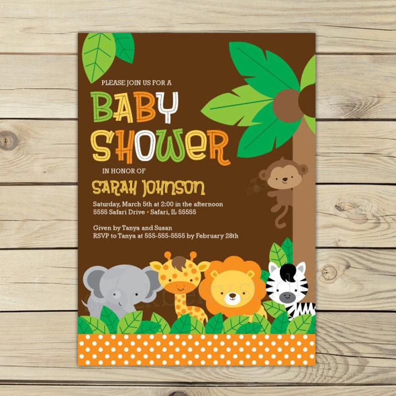 Jungle Safari Baby Shower Invitation Printable  Safari Baby Color #1