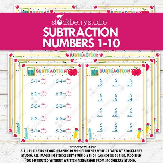 Subtraction Worksheets Printable Numbers 1-10 Kindergarten 1st Grade Math  Worksheets Subtracting By Stockberry Studio Catch My Party