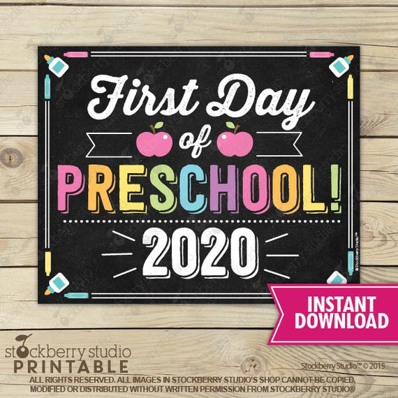 First Day of Pre K Sign First Day of School Sign Photo Prop 1st Day of School Printable Chalkboard Sign Instant Download