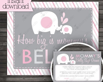 Girl Elephant Baby Shower How Big is Mommy's Belly Game - Instant Download - How Big is Mommy's Tummy - Pink Baby Shower Games Printable