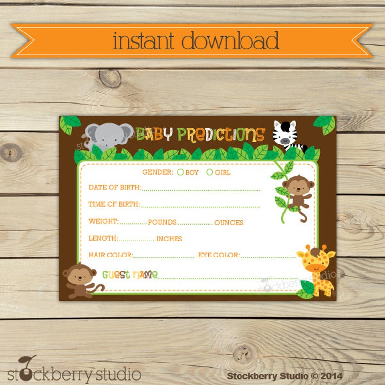 Safari Baby Shower Baby Predictions Card Printable  Instant image 0