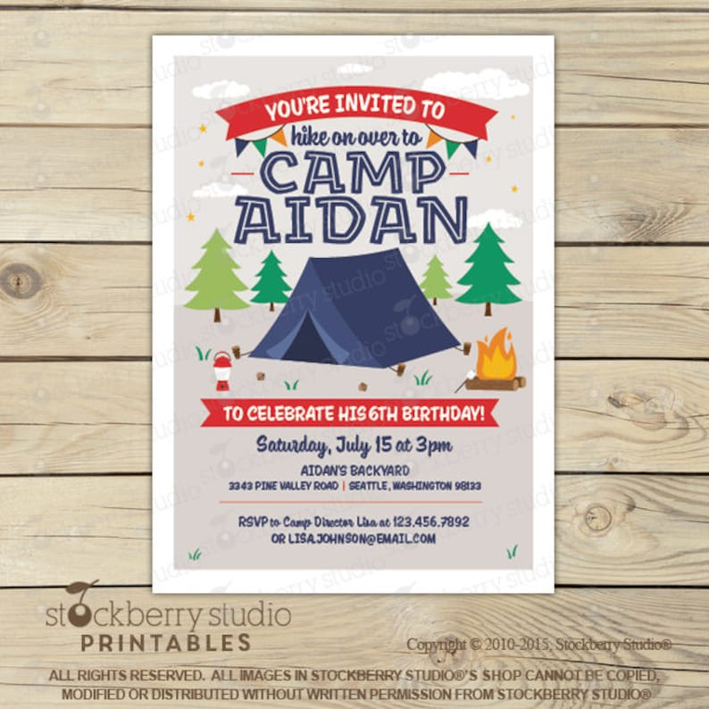 Camping Birthday Invitation Printable Camping Party Etsy
