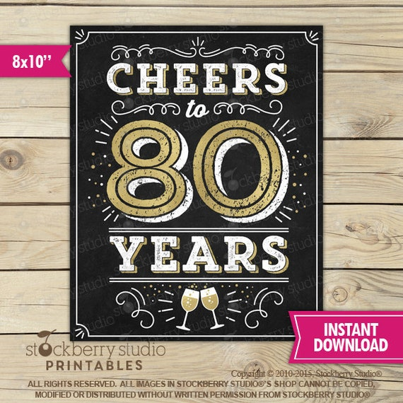 80th Wedding Anniversary Gift: Cheers To 80 Years Sign Printable