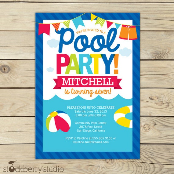 graphic regarding Free Printable Pool Party Birthday Invitations identified as Pool Get together Birthday Invitation Printable - Pool Occasion
