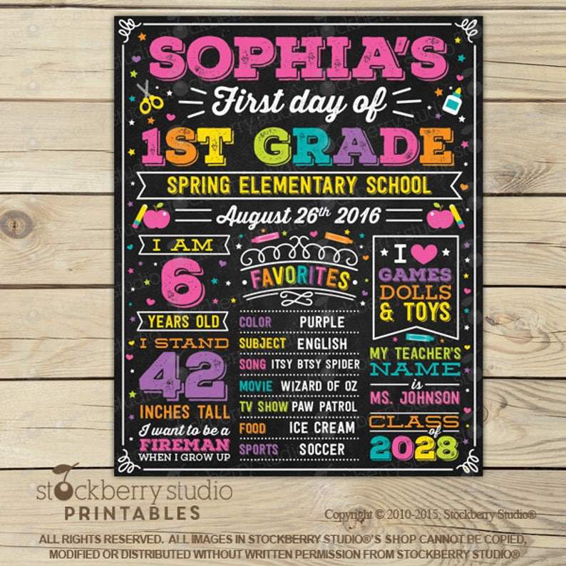 First Day of School Sign Girl First Day of School Chalkboard Pic 1: Sophia - Pink
