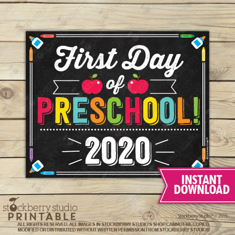 First Day of Preschool Sign  1st Day of School Sign Printable image 0