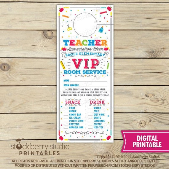 Printable Room Service Door Hangers Teacher Appreciation Gift End Of The Year Teacher Gift Staff And Teacher Apprecition Ideas