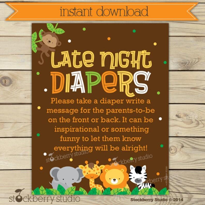 Safari Baby Shower Late Night Diaper Game  Jungle Baby Shower image 0