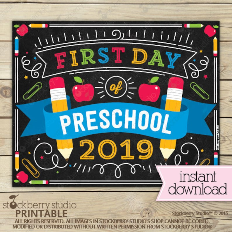 photograph regarding First Day of Preschool Sign Printable identify 1st Working day of Preschool Signal Prompt Down load - Very first Working day of Preschool Signal Printable - 1st Working day of University Indicator - Back again in direction of Higher education Signal