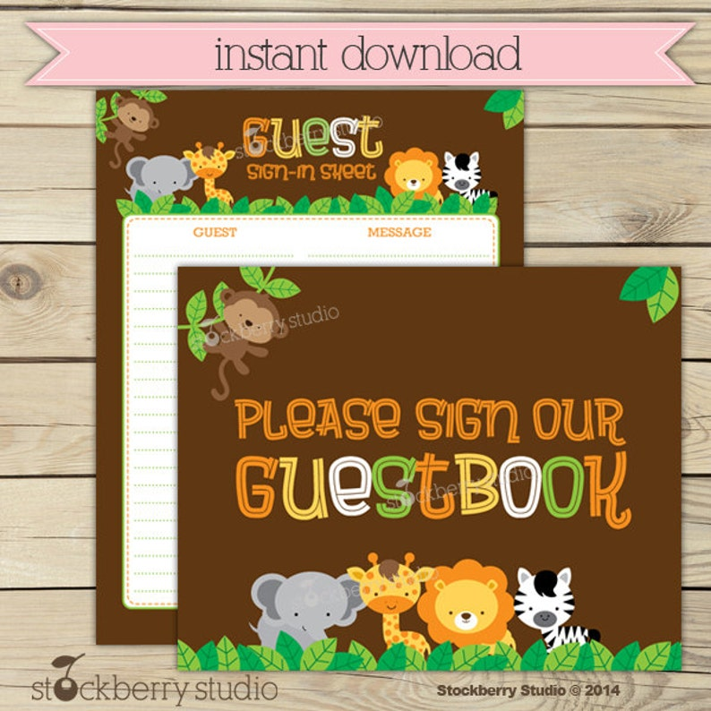 Safari Guest Book Sign In Baby Shower Printable  Instant image 0