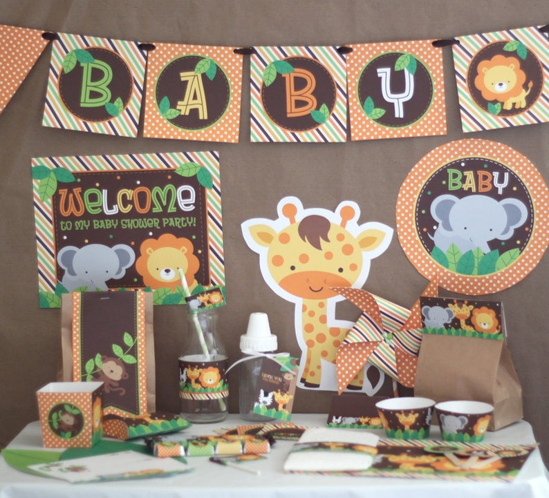 Safari Jungle Baby Shower Decorations Printable | A découvrir sur le blog : keepcoolnewmom.com