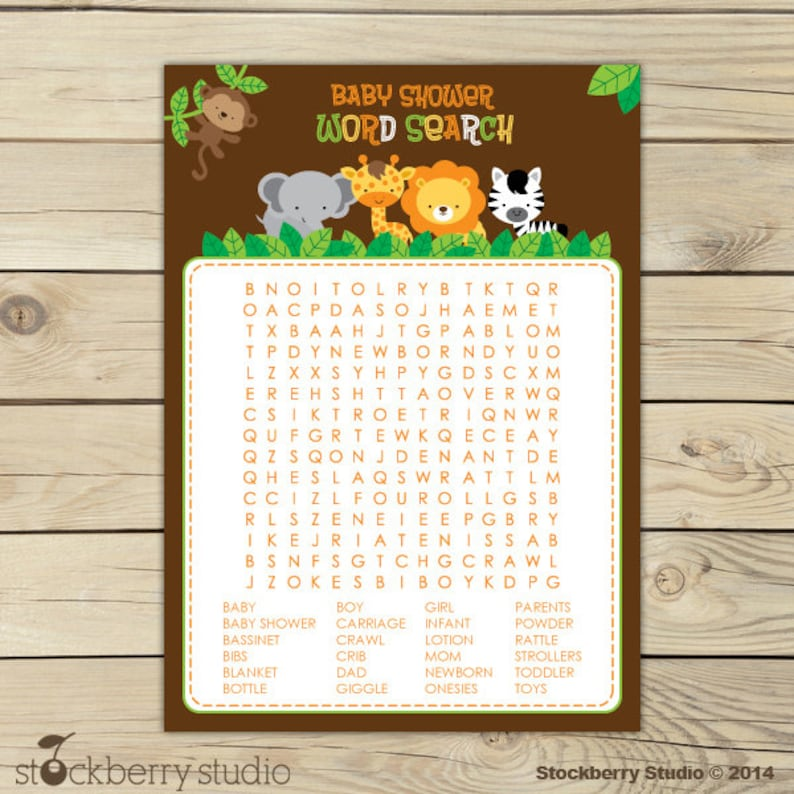 Safari Animals Baby Shower Word Search Game  Jungle Baby image 0