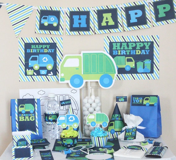 Garbage Truck Birthday Decorations Printable Garbage Truck Party
