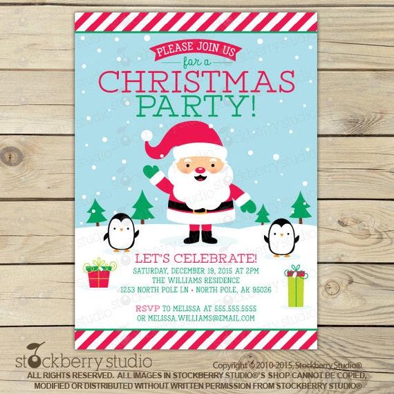Christmas Ideas Secret Santa: Items Similar To Santa Invitation