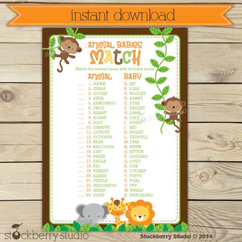 Safari Baby Shower Animal Match Game Printable  Instant image 0