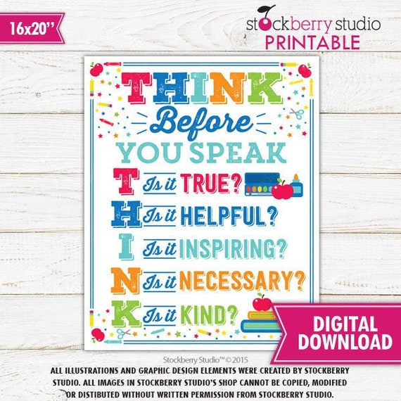 Think Before You Speak Sign Teacher Classroom Decor Teacher Classroom Decoration Wall Decor Poster Teacher Classroom Sign Teacher Wall Art By Stockberry Studio Catch My Party
