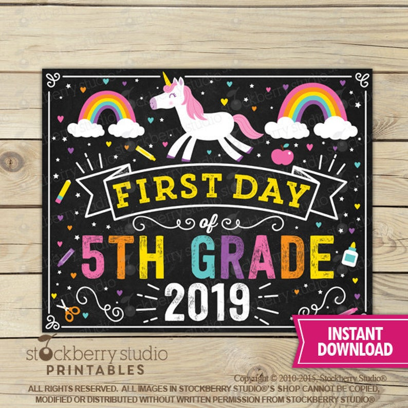picture relating to First Day of 5th Grade Printable identify Unicorn To start with Working day of 5th Quality Signal - Woman Very first Working day of University Signal Printable - Fast Down load - Rainbow Initial Working day 5th Quality Indicator