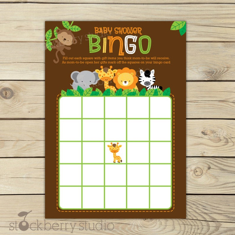 Safari Jungle Baby Shower Bingo Game Printable  Instant image 0