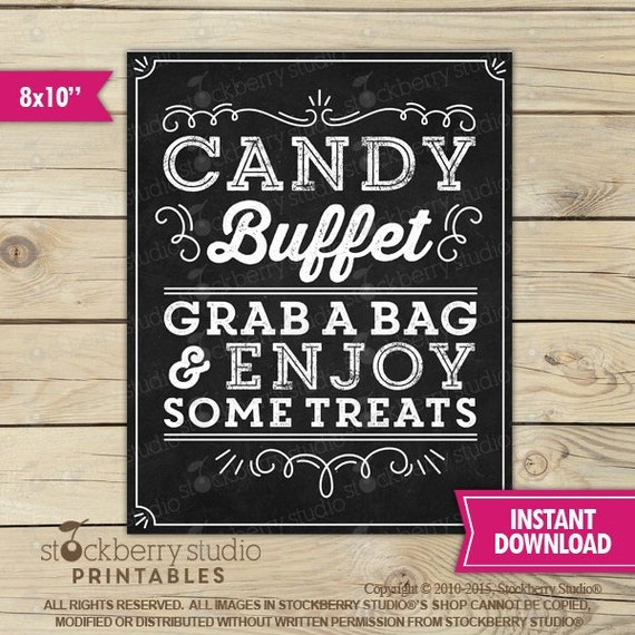 Candy Buffet Sign Printable, Graduation Candy Bar Sign ...
