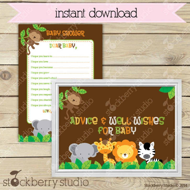 Safari Jungle Baby Shower Wishes for Baby Card Printable  image 0