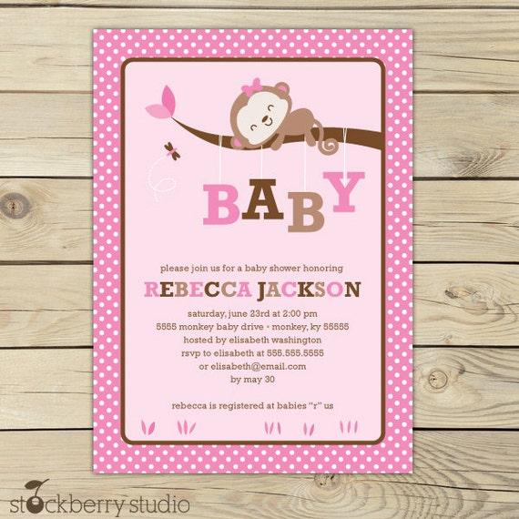 Girl Monkey Baby Shower Invitation Printable Pink Baby Shower