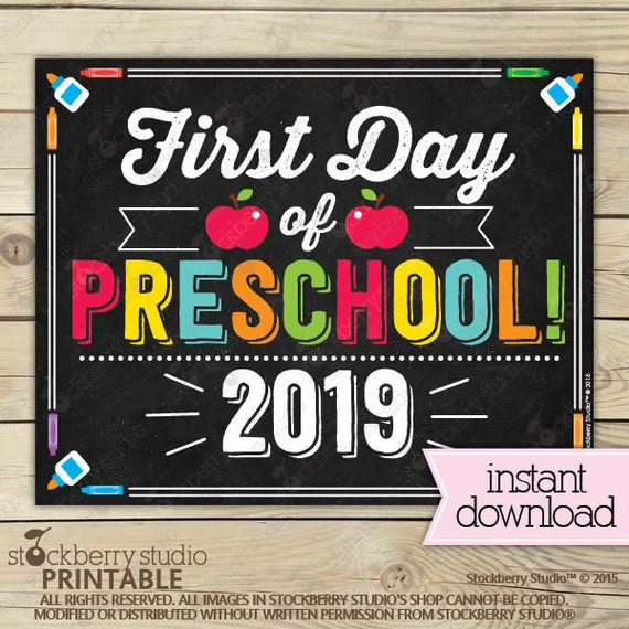 picture regarding First Day of Preschool Free Printable identified as Initially Working day of Preschool Indicator - 1st Working day of Higher education Signal