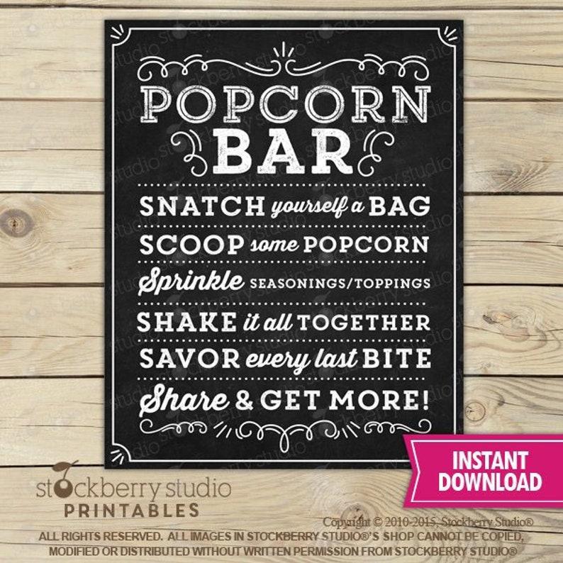 Popcorn Station Instant Download Popcorn Table Sign Popcorn Bar Wedding Sign Popcorn Sign Popcorn Bar Sign Printable