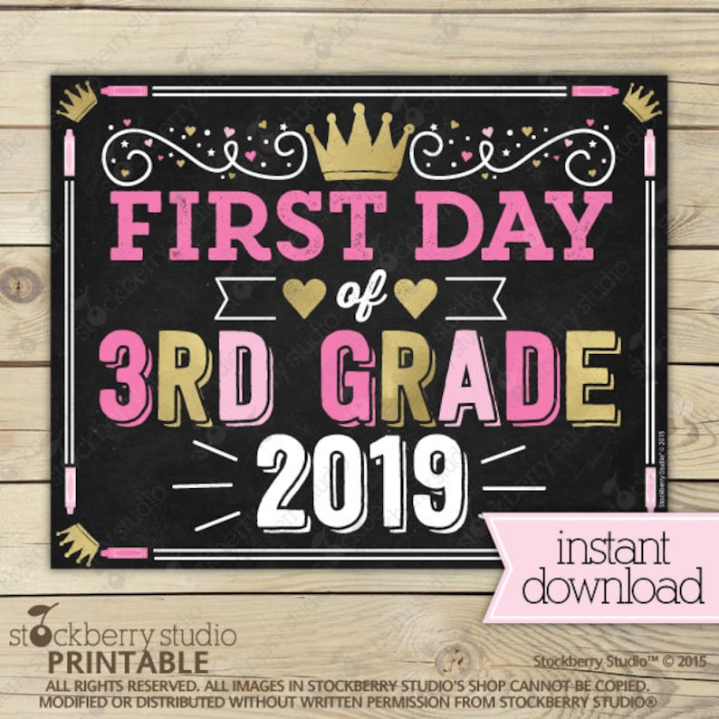 picture relating to First Day of 3rd Grade Sign Printable identify Woman 1st Working day of 3rd Quality Indicator - Princess Again towards University Indicator - 1st Working day of 3rd Quality - Lady To start with Working day of Faculty Signal Printable - Purple Gold