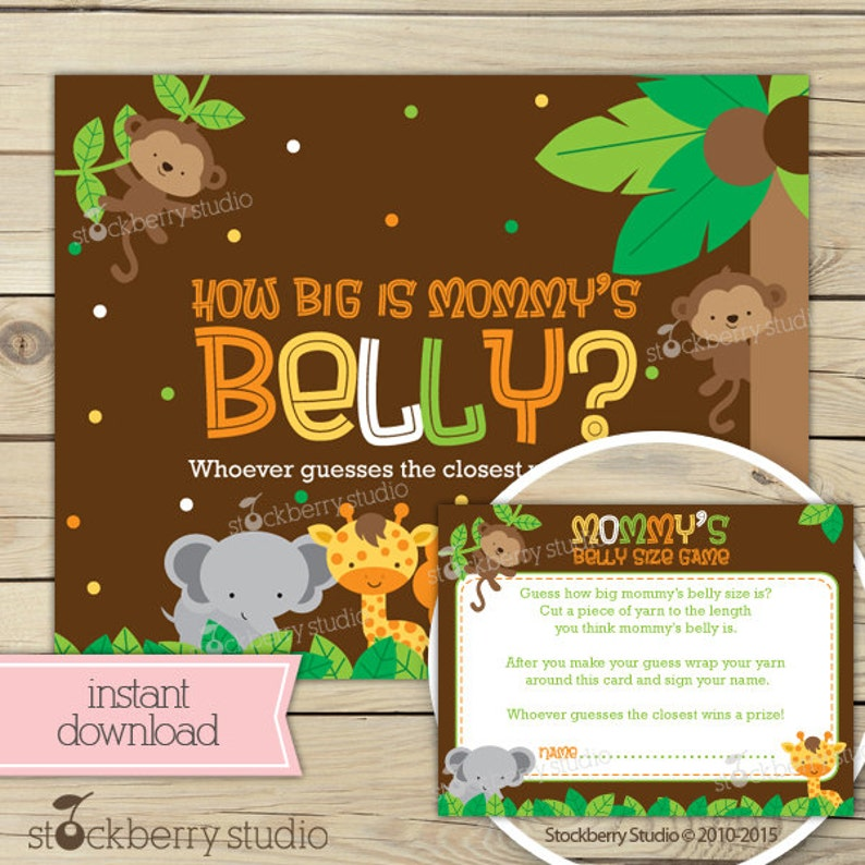 Safari Jungle Baby Shower How Big Is Mommy's Belly Game image 0