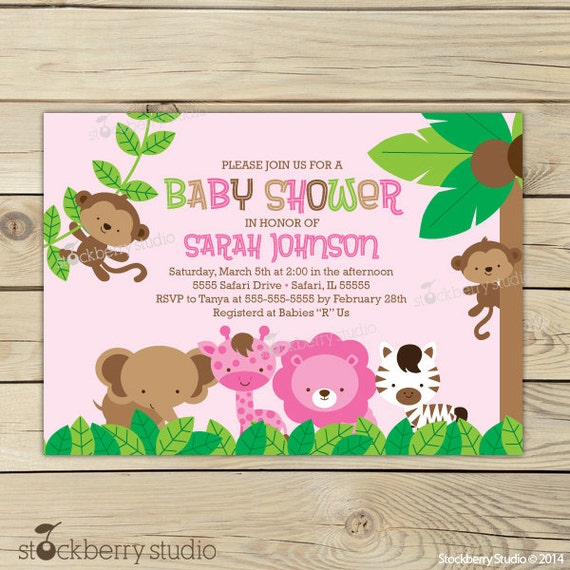 Items Similar To Girl Jungle Baby Shower Invitation Printable Girl