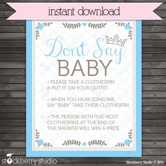 Little Prince Baby Shower Dont Say Game Printable Blue Etsy