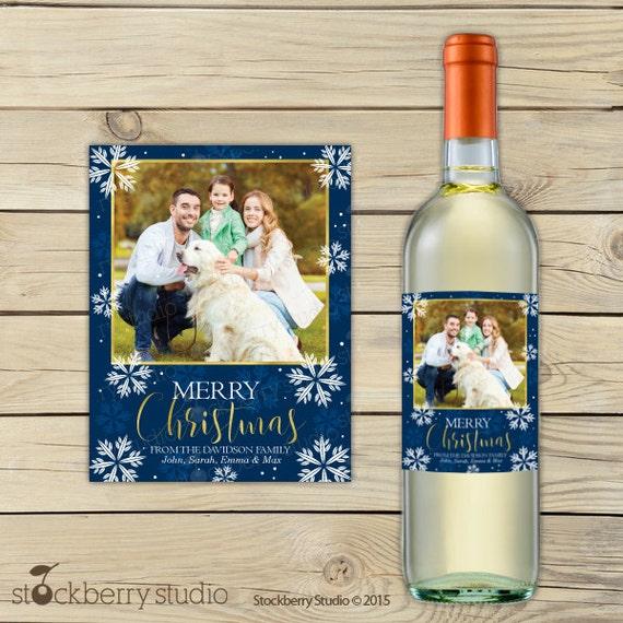 Christmas Wine Label Printable Holiday Bottle Label Custom Wine