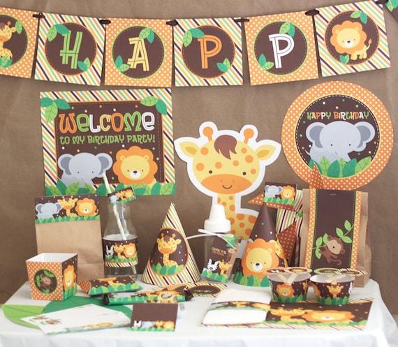 Kids Safari Bathroom Set: Jungle Safari Birthday Party Decorations Printable Jungle