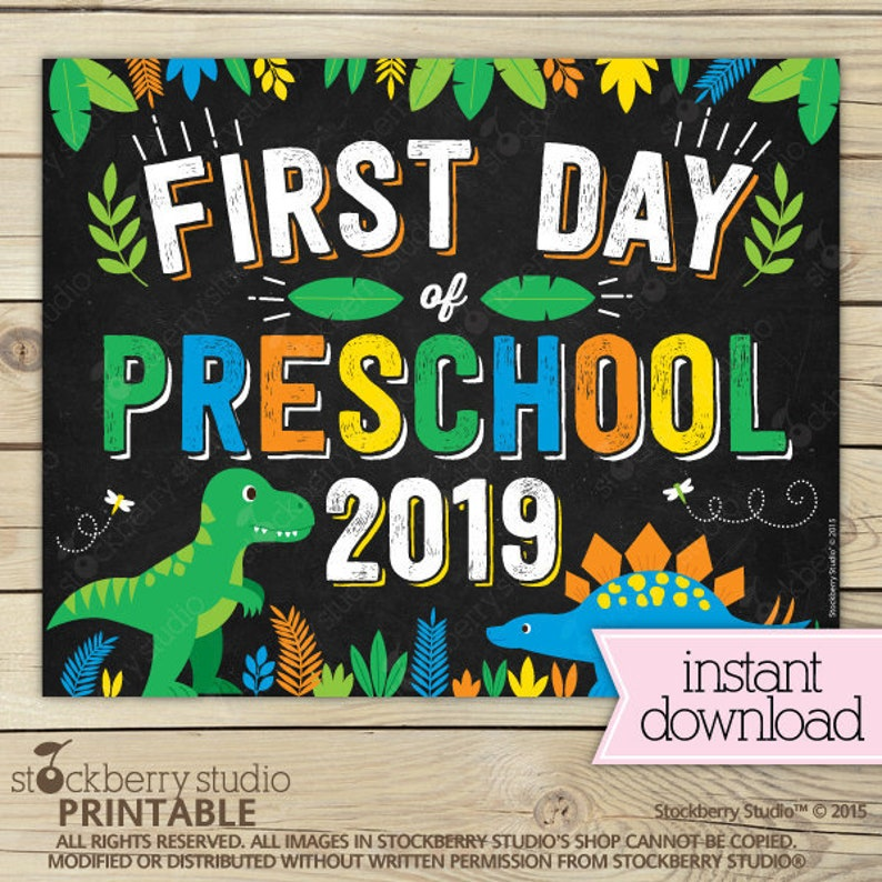 graphic regarding Printable First Day of Kindergarten Sign identified as Dinosaur Very first Working day of Preschool Indicator Quick Obtain - Boy 1st Working day of Preschool Indicator Printable - Dinosaurs Initial Working day of Higher education Signal