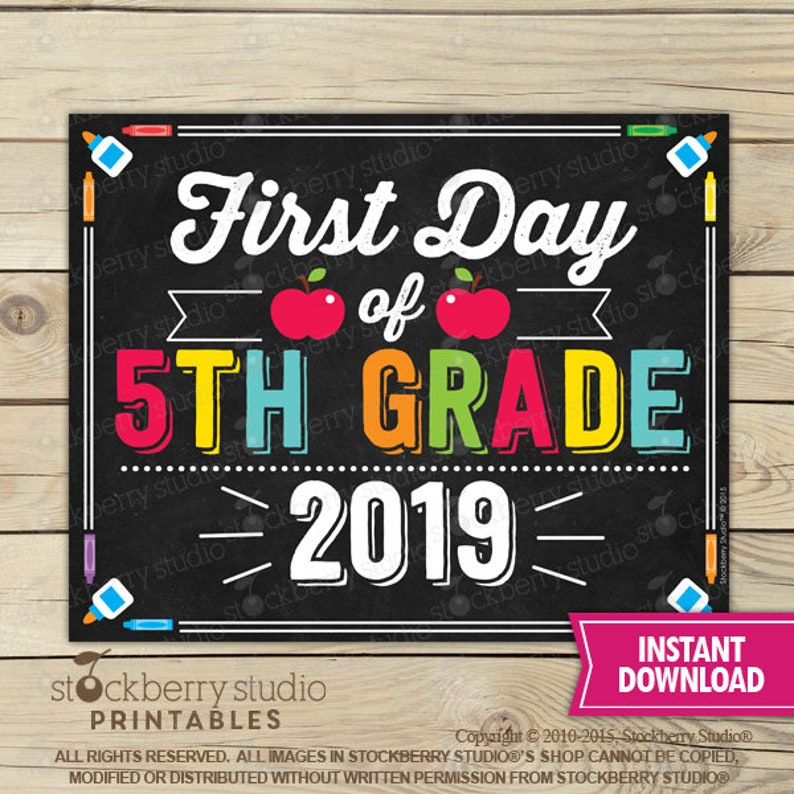 photograph regarding First Day of 5th Grade Printable called To start with Working day of 5th Quality Indication - 1st Working day of Faculty Indication Printable - 1st Working day of College or university Signal - Picture Props - Chalkboard Indicator - Quick Obtain