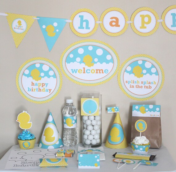 Rubber Ducky Birthday Decorations Printable